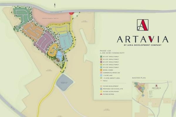 This site plan illustrates the first phase of Artavia, a new 2,200-acre master-planned community. Eventually, Artavia is expected to contain approximately 5,200 homes plus more than 120 acres of mixed-use, commercial and retail properties.
